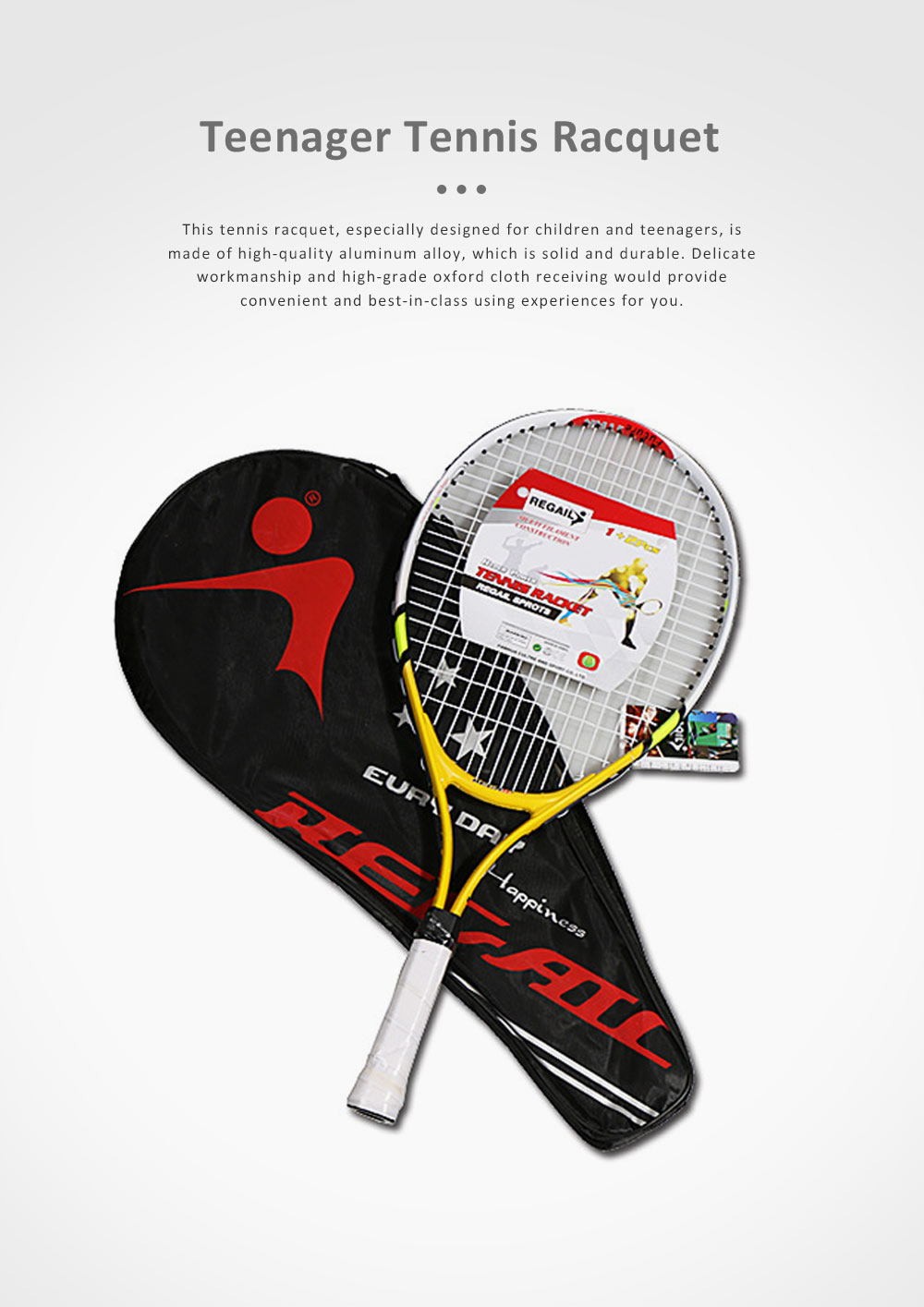 Solid Tennis Racquet with Aluminum Alloy, Delicate Professional Tennis Racket with Oxford Cloth Store Bag, Durable Tennis Racquet for Children Teenager 0