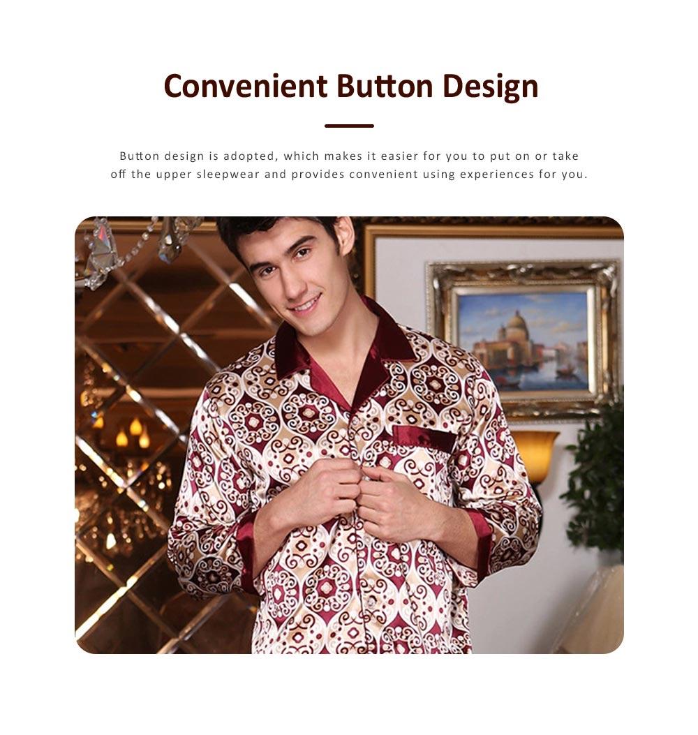 Stylish Spring Summer Silk Long Sleeve Sleepwear Set for Men, Luxury Elegant Decorative Pattern Satin Long Pajamas Suit 3
