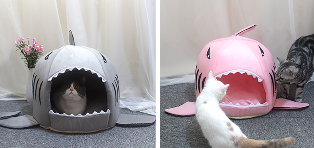 Shark-shaped Cattery Four Seasons Warm  Cat Nest, Winter Cattery Indoor Closed Cat Beds 7