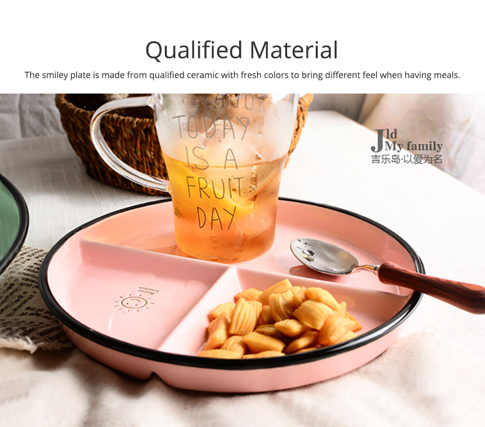 Ceramic Breakfast Dish for Household Use Smiley Plate Creative Snack Dish Salad Plate  Separation Plate Smiling Face Separating Plate Tableware 2