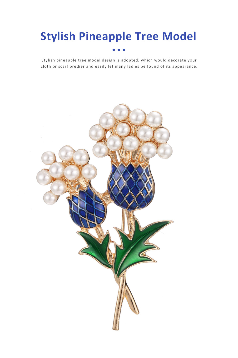 Elegant Brooch Oil-spot Glaze Pearl Decoration Pineapple Tree Breastpin, Delicate Fine Shiny Durable Alloy Brooch Clothes Scarf Ornament 5