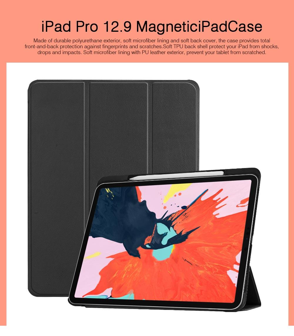 iPad Pro 12.9 inch 2018 Magnetic Leather Auto Sleep Awake Smart Case, Intelligent Sleep Protection Cover for 2018 iPad Pro 12.9'' 0