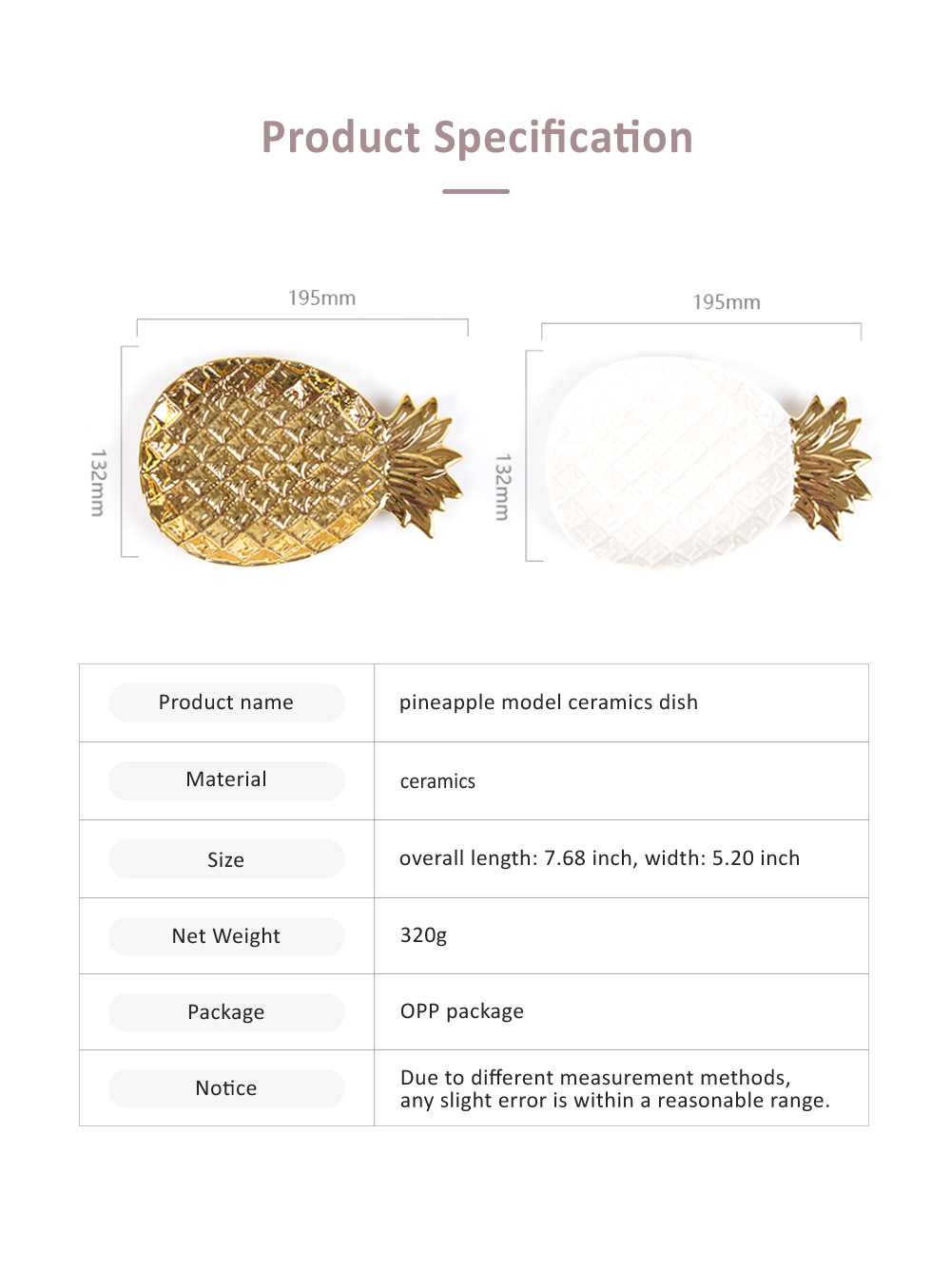 Golden Pineapple Model Ceramics Dish with Creative Shiny Electroplating , Exquisite Jewelry Storage Dessert Fruits Tray 5