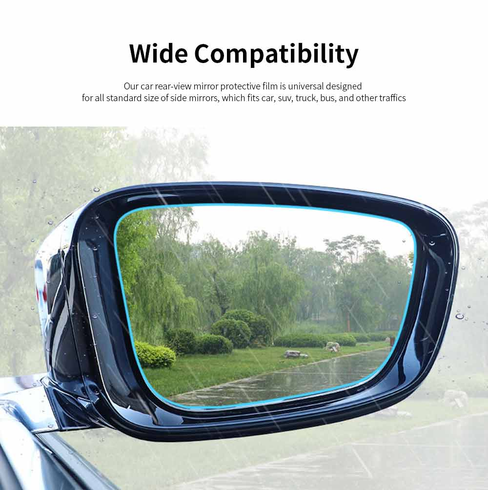 Car Rearview Mirror Glass Film Rainproof Anti-Fog Film Dust-Proof Anti-Glare Anti-Scratch Protective Film 1