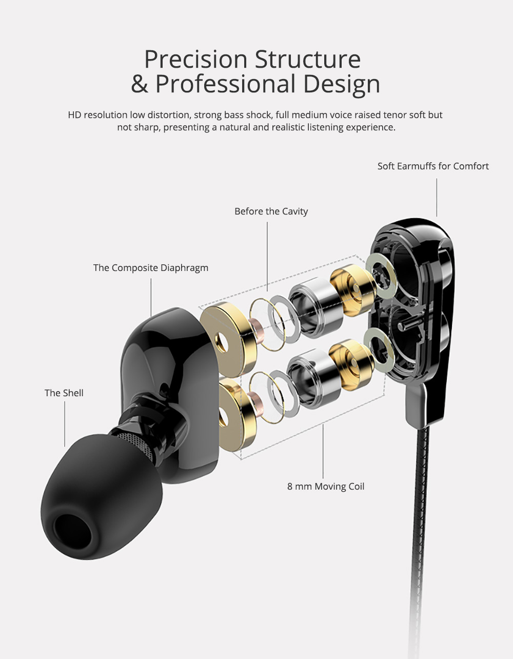 Type-c Headphone with Dual Moving-coil Interface, Quad-core Sound Quality Semi-in-ear Earphone for XIAOMI & HUAWEI, Noise Reduction In-ear Headset 1