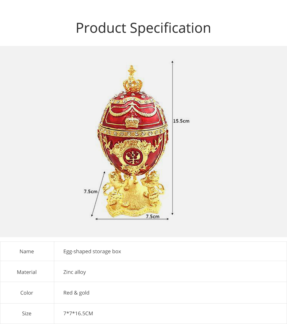 European Palace Style Egg-shaped Jewelry Storage Box Innovative Metal Artwork Ornament Jewelry Holder 6