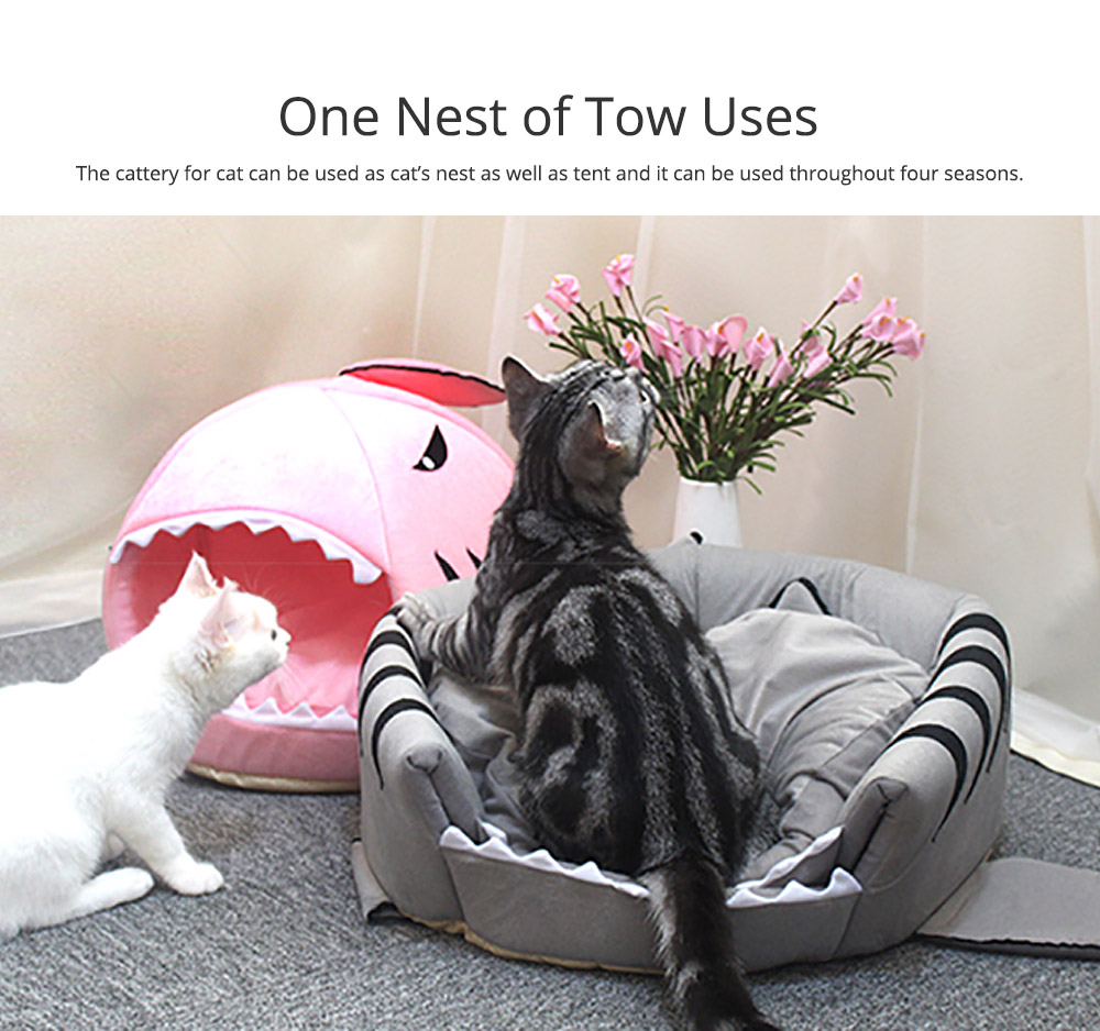 Shark-shaped Cattery Four Seasons Warm  Cat Nest, Winter Cattery Indoor Closed Cat Beds 3