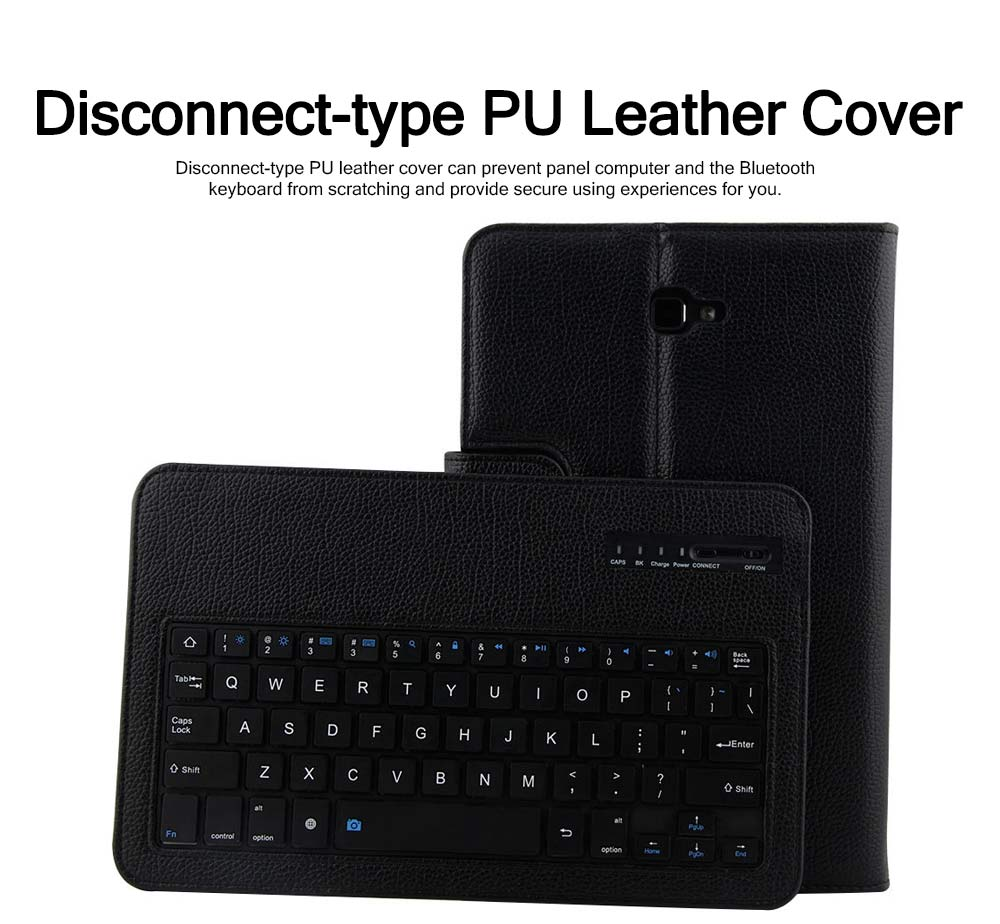 Bluetooth Keyboard PU Leather Cover for Samsung Galaxy Tab A 10.1 inch T580, Luxury Delicate Minimalist ABS Key Separate Panel Protective Case 2