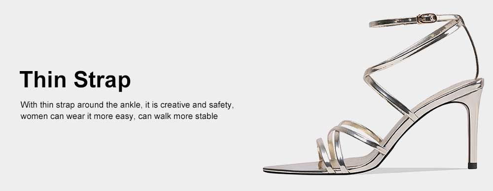 Open Toes High Heel Sandals with Ankle Strap, Front Cross Strap Footwear Thin Heel Dress Shoes for Fashion Ladies Summer 5