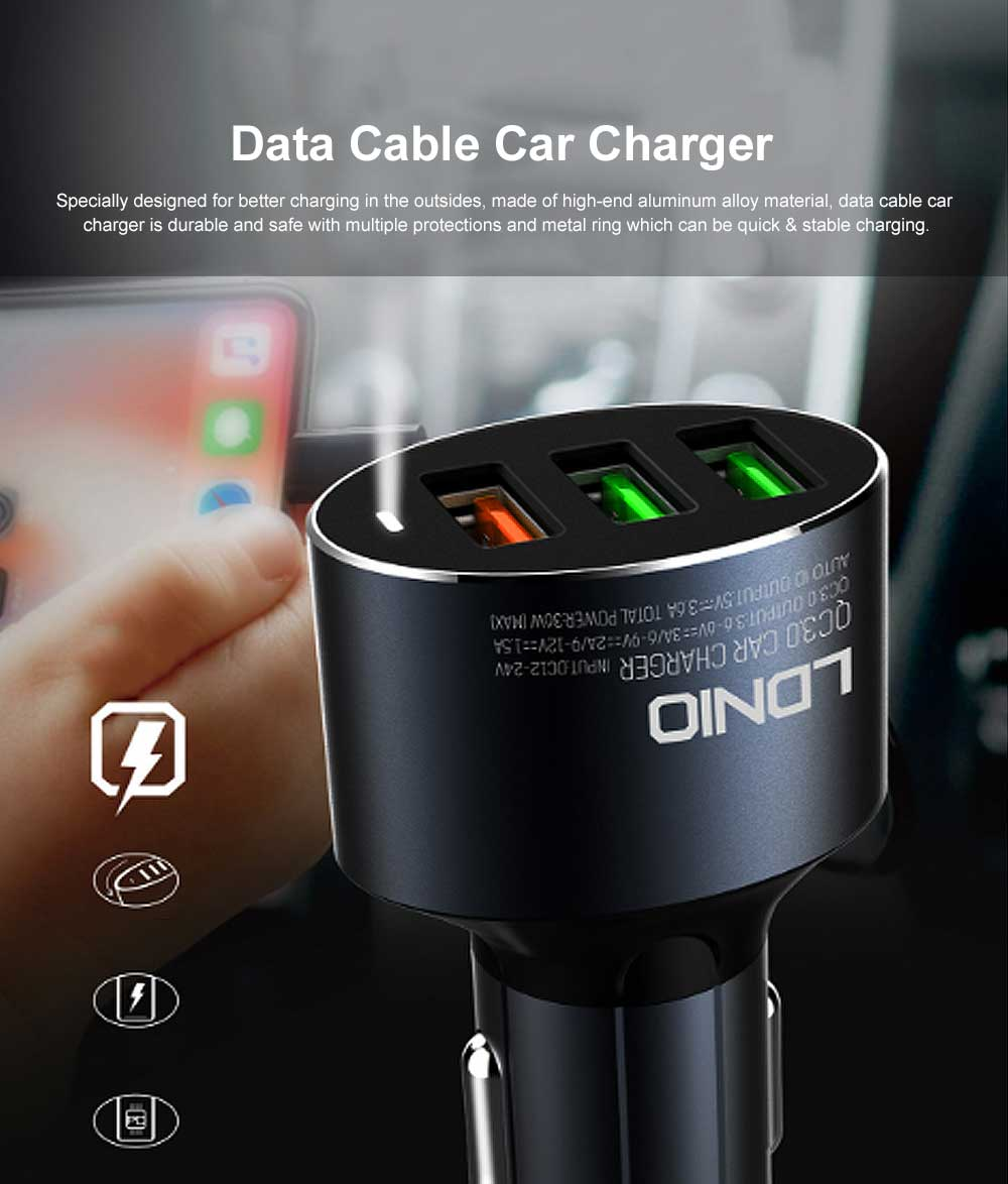 3 USB in 1 Tough Aluminum Alloy Car Charger with Multiple Protections Metal Ring Ergonomic Design QC 3.0 USB Data Cable Fast Car Charging Adapter 0