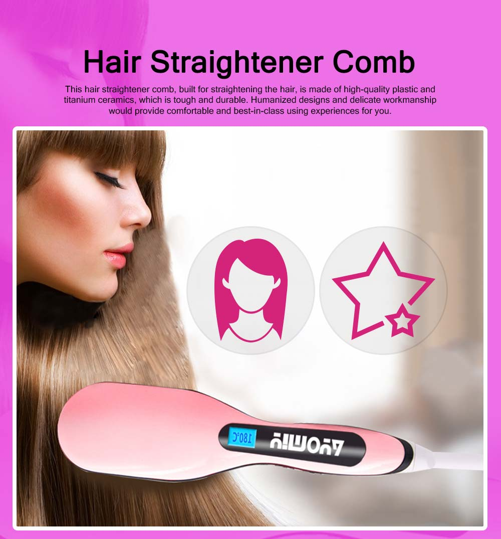Functional Electric Curling Hair Straightener Comb, Auto Temperature Control Hair Shaping Straight Iron Tools 0