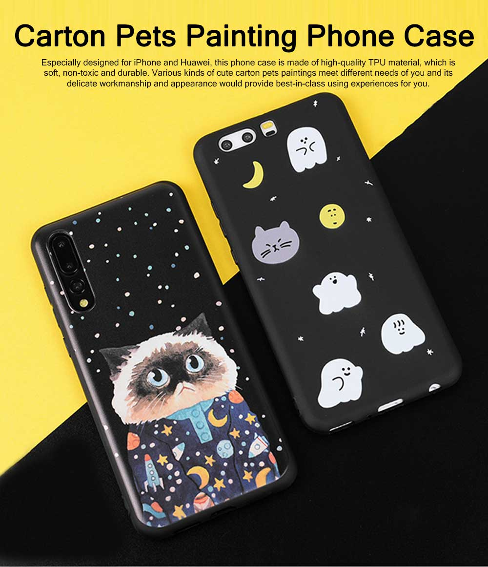 Cute Phone Case with Unique Starry Sky Cats Poodle Bichon Frise Patterns, Black Soft TPU Phone Cover for iPhone Huawei P20 Pro p10 PLUS 0