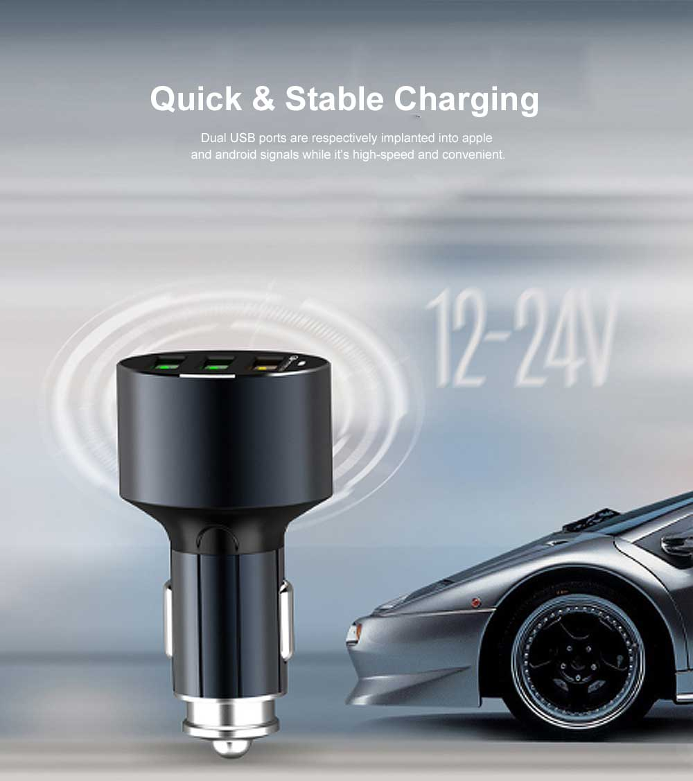 3 USB in 1 Tough Aluminum Alloy Car Charger with Multiple Protections Metal Ring Ergonomic Design QC 3.0 USB Data Cable Fast Car Charging Adapter 4