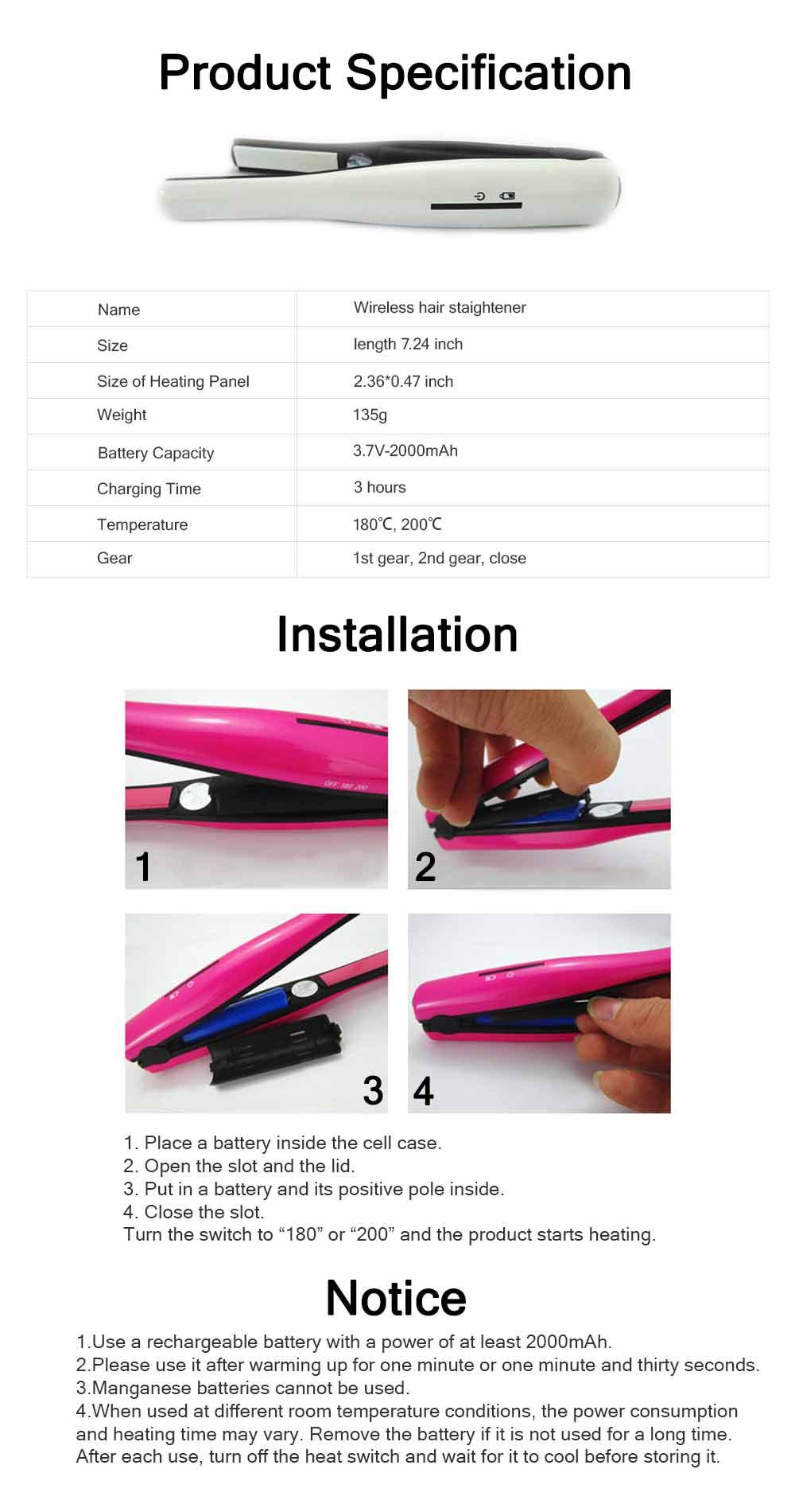 Mini Portable Wireless Hair Straightener Iron, Ceramic Glaze Coating Hair Care Shaping Heating Hairpin 6