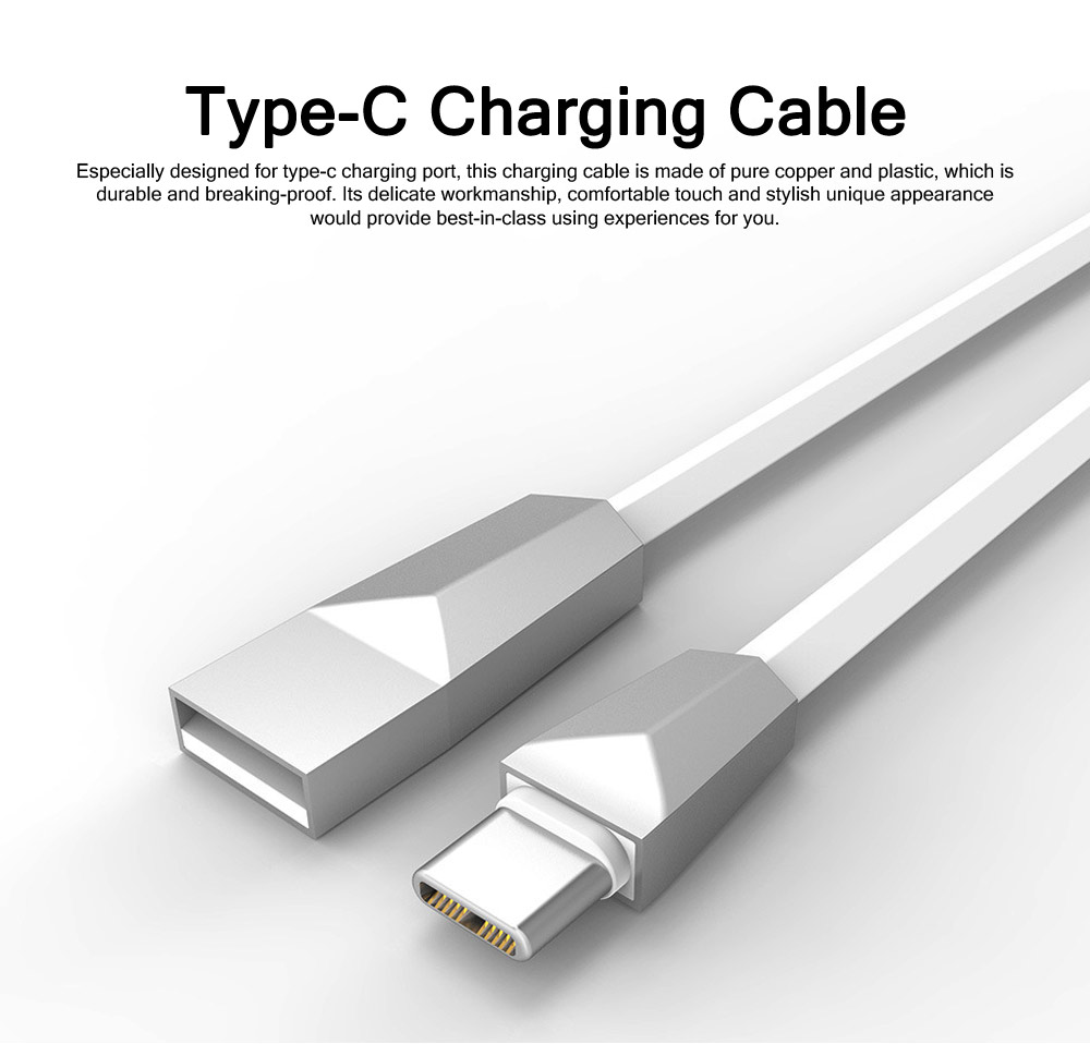 Delicate 2.4A Single-end Type-C Copper Charging Cable, Unique Stylish Smart Phone USB Data Charging Wire 0