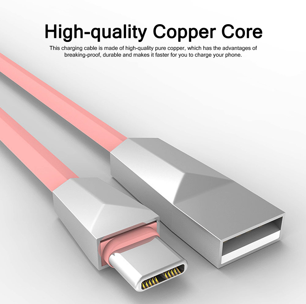 Delicate 2.4A Single-end Type-C Copper Charging Cable, Unique Stylish Smart Phone USB Data Charging Wire 1