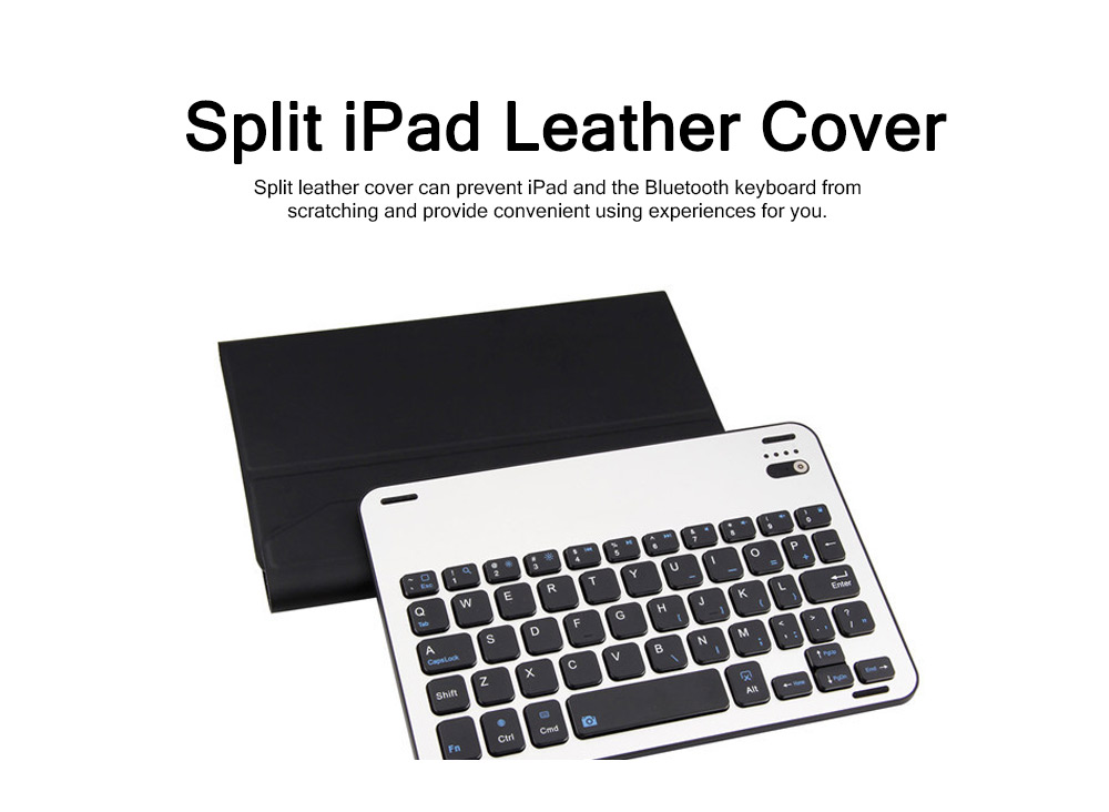 3 in 1 iPad Mini 4 Slim Wireless Aluminum Alloy Bluetooth Keyboard Smart Case , Skin-friendly Leather Filp Cover with Split Type Keyboard Auto Sleep Wake 2