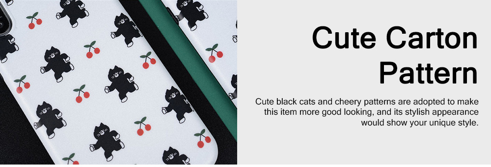 Black Cats Cherry Painting Phone Case, Soft Skin-friendly TPU Carton Phone Protective Cover for Apple iPhone XS Max 8 Plus 7 Plus 5