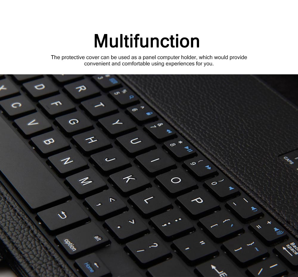 Bluetooth Keyboard PU Leather Cover for Samsung Galaxy Tab A 10.1 inch T580, Luxury Delicate Minimalist ABS Key Separate Panel Protective Case 6