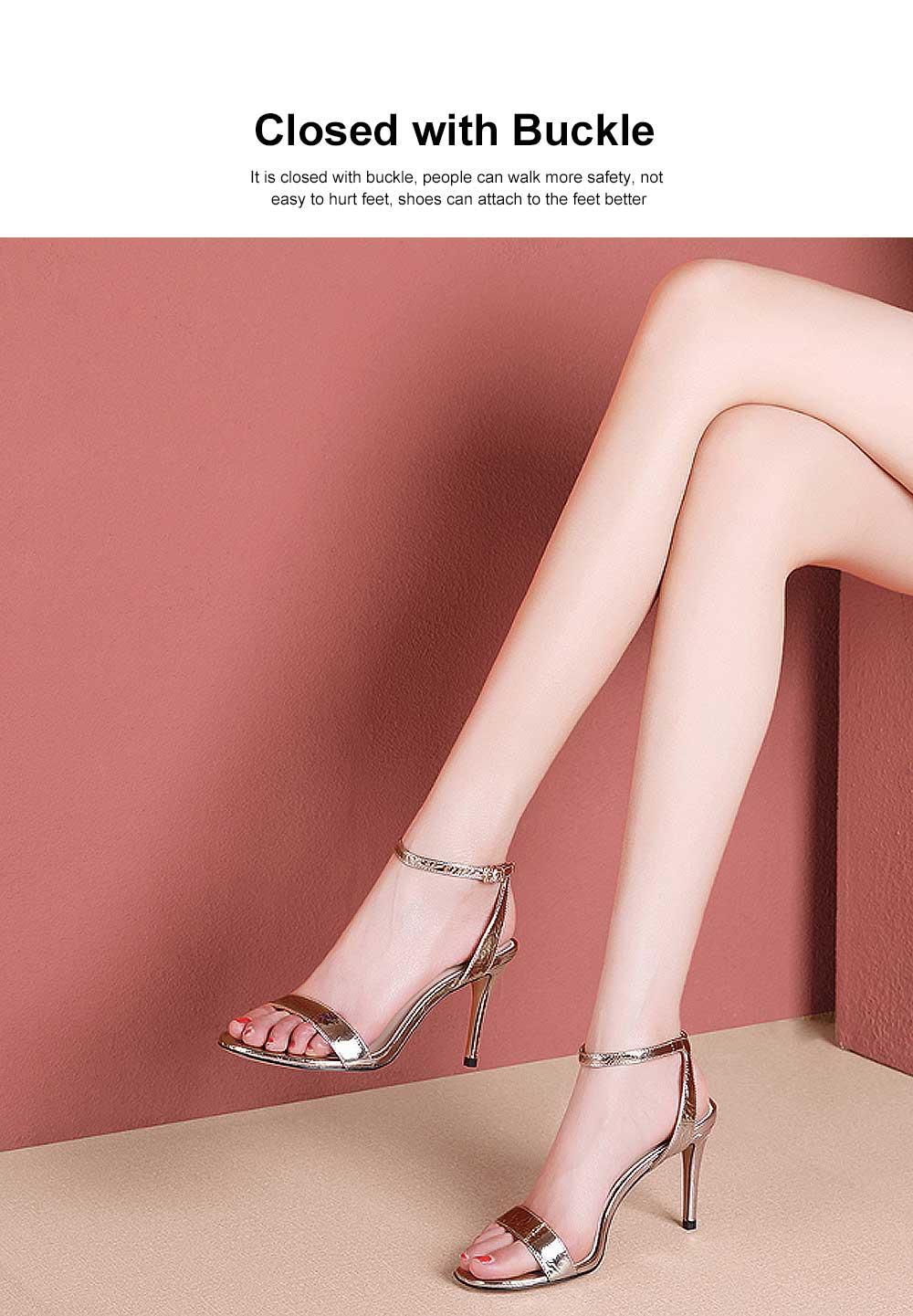 Summer High Heel Sandals with Word Buckle Roman Sandals, Women Dress Shoes Sexy High Heels 1