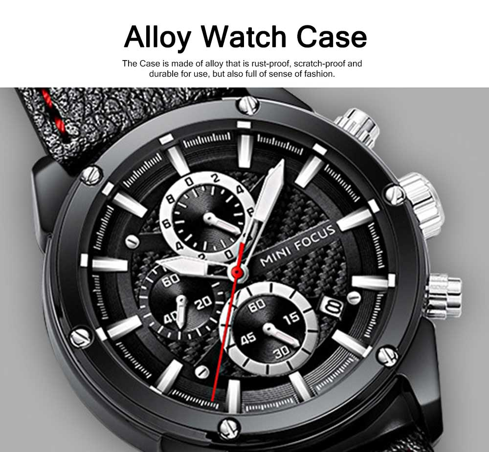 Waterproof Luminous Watch with Calendar, Business Men's Watch with Leather Band 2019 Fashion Mechanical Watch 2