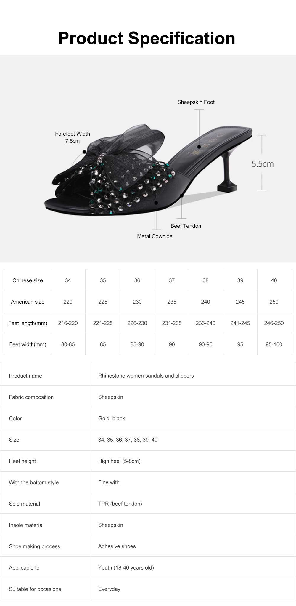 Flip-flops with Lower Heel, Diamond Bow Decoration Slip-On Fairy Sandals, Rhinestone Elegant Women Slippers 6