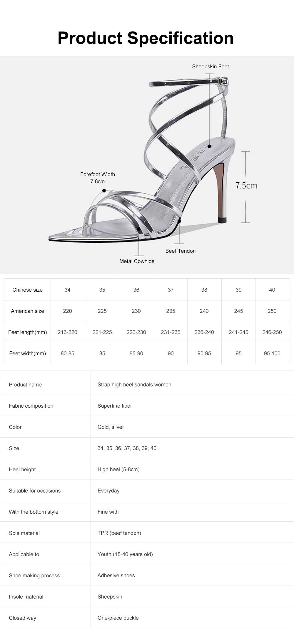 Open Toes High Heel Sandals with Ankle Strap, Front Cross Strap Footwear Thin Heel Dress Shoes for Fashion Ladies Summer 6
