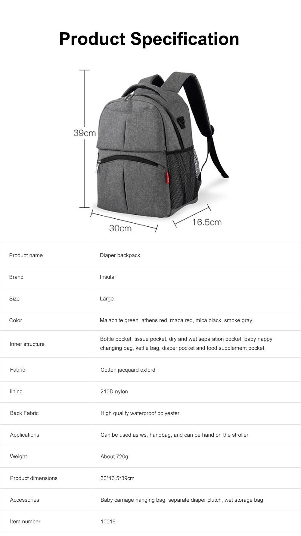 Diaper Bag Backpack Insular Fashion Baby Nursing Backpack with Large Capacity, Multi-Function Waterproof Durable Mammy Shoulders Bag 6