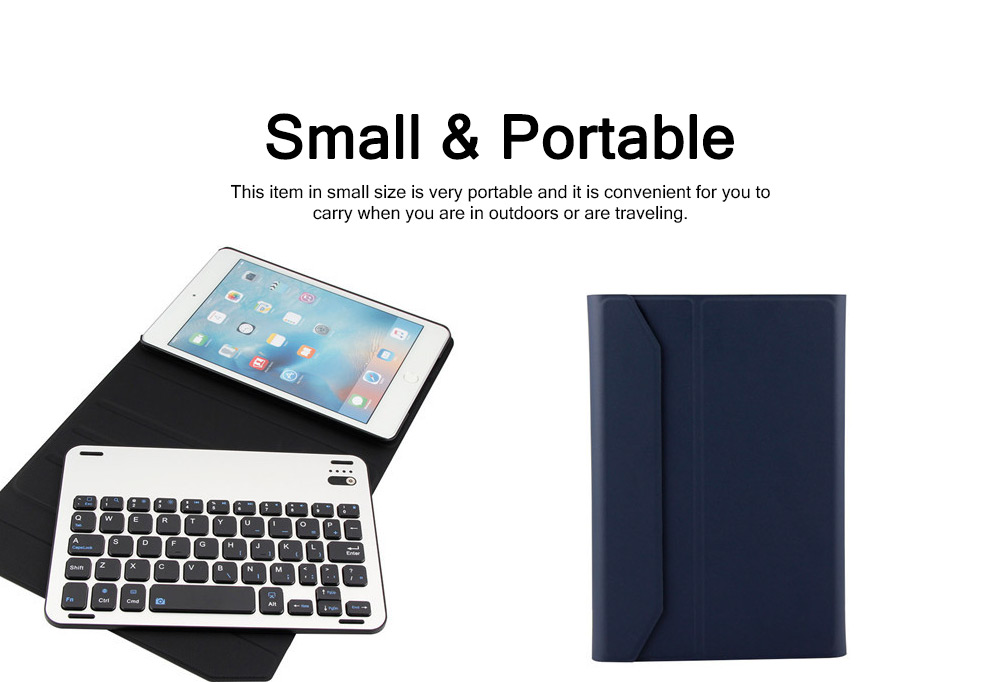3 in 1 iPad Mini 4 Slim Wireless Aluminum Alloy Bluetooth Keyboard Smart Case , Skin-friendly Leather Filp Cover with Split Type Keyboard Auto Sleep Wake 4