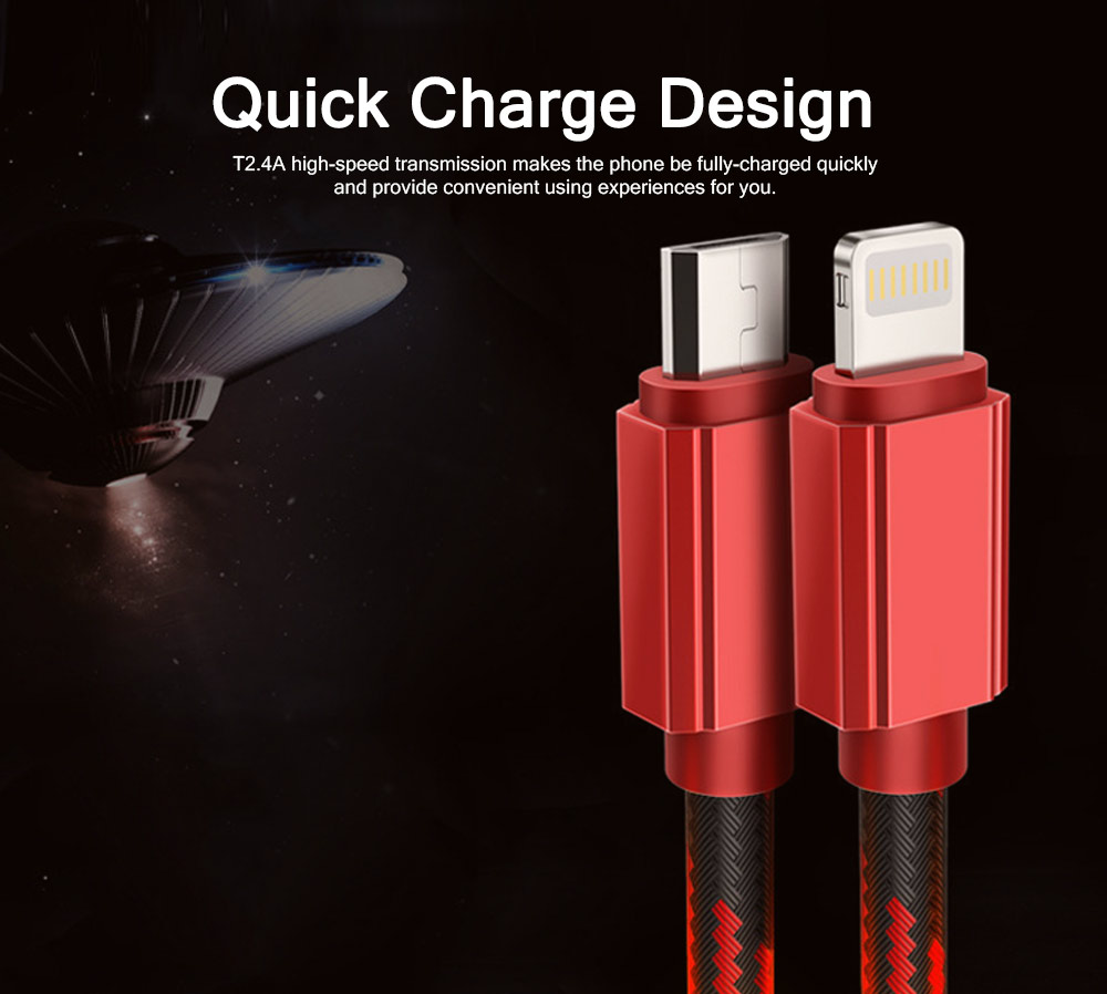 Quick Charge Charging Cable, Breaking-proof Nylon Knit Surface 2.4A Charger Cable, Delicate High-speed USB Charging Wire for iPhone Samsung Android Phones 4