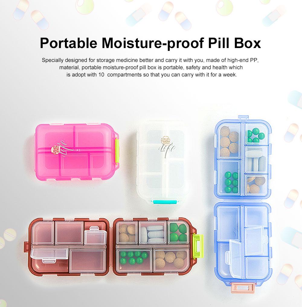 Moisture-proof Portable Weekly Pill Case, Multi-purpose Pill Organizer Pure Color Medicine Box with 10 Slots 0