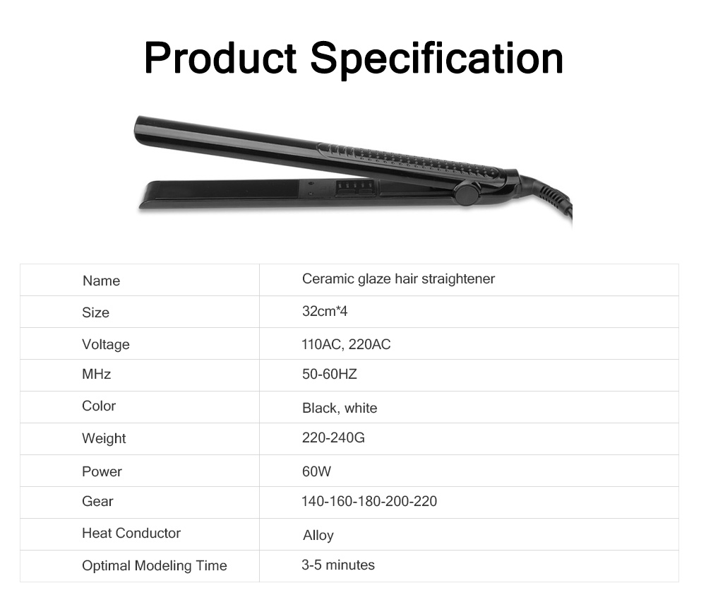 Delicate Ceramic Glaze Hair Straightener Styling Curler, Constant Temperature 5 Gears Straight Hair Iron 6