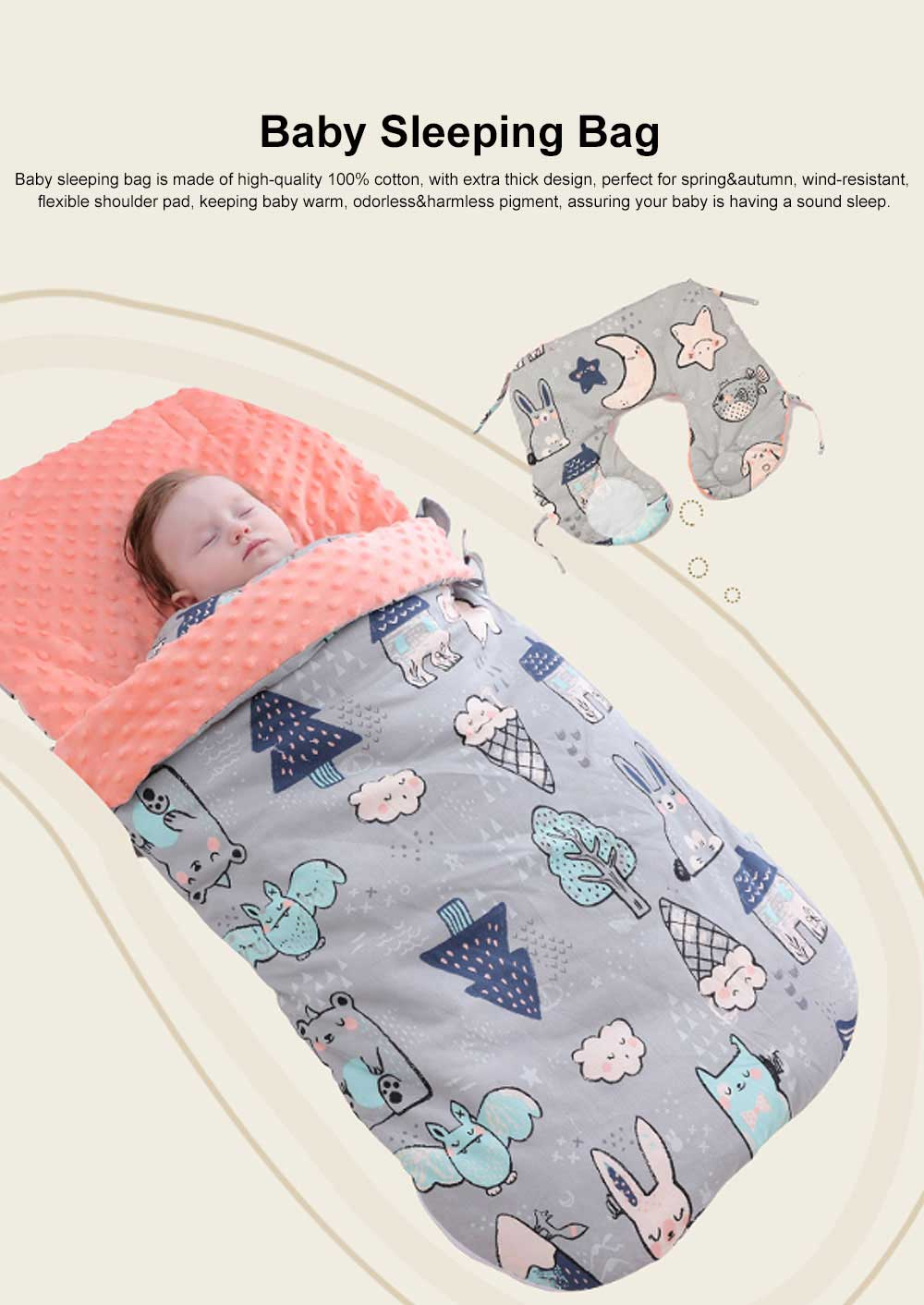 Baby Sleeping Bag Spring Autumn Extra Thick Baby Sleeping Sack, Twitching-safe 100% Cotton Newborn Baby Sleeping Fleabag 0