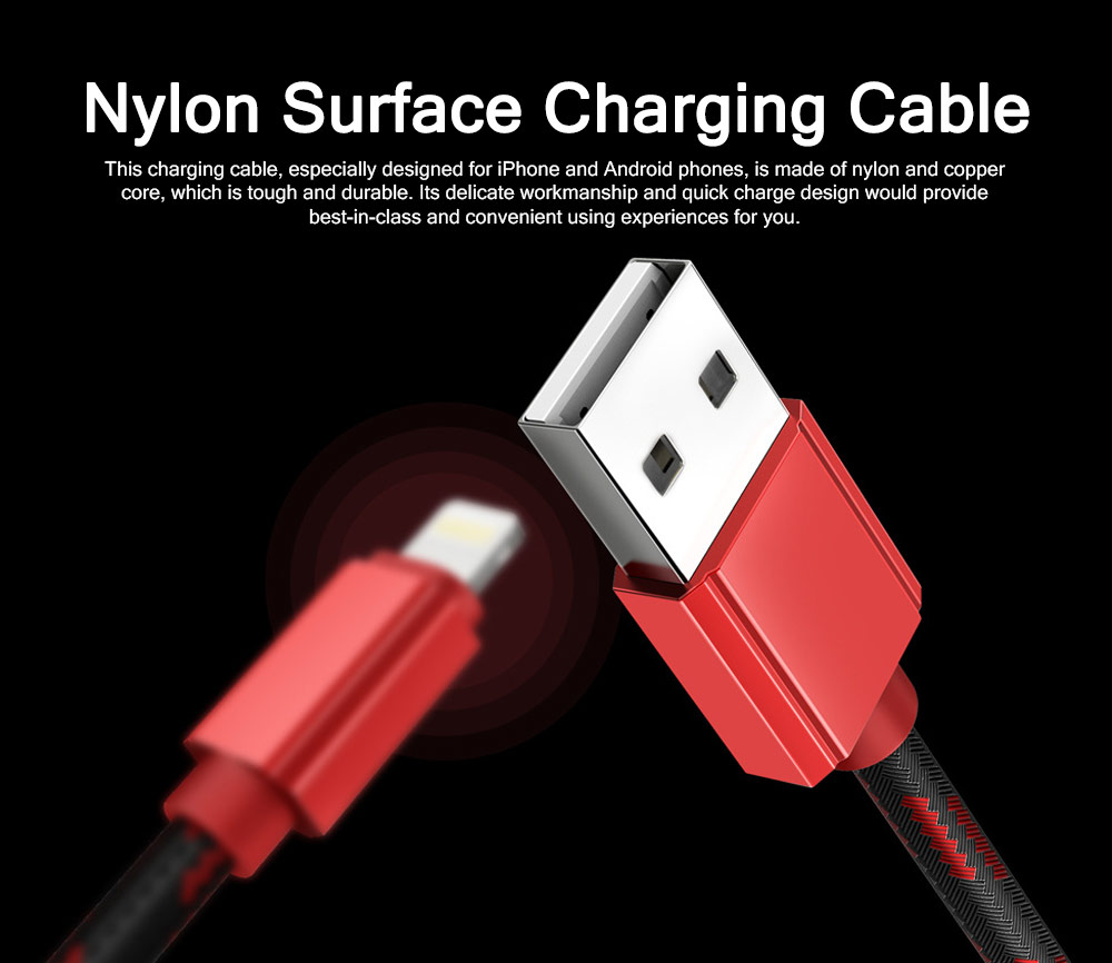 Quick Charge Charging Cable, Breaking-proof Nylon Knit Surface 2.4A Charger Cable, Delicate High-speed USB Charging Wire for iPhone Samsung Android Phones 0