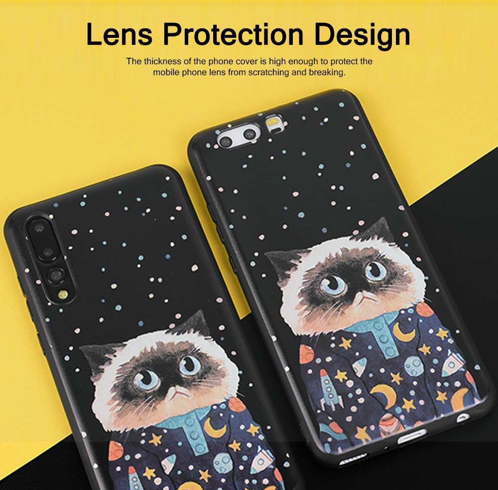 Cute Phone Case with Unique Starry Sky Cats Poodle Bichon Frise Patterns, Black Soft TPU Phone Cover for iPhone Huawei P20 Pro p10 PLUS 2