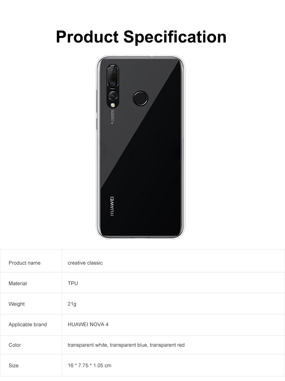Plain Transparent Phone Case Ultra-soft Light Silicone Phone Shell for HUAWEI NOVA 4 Shinny Phone Cover 5