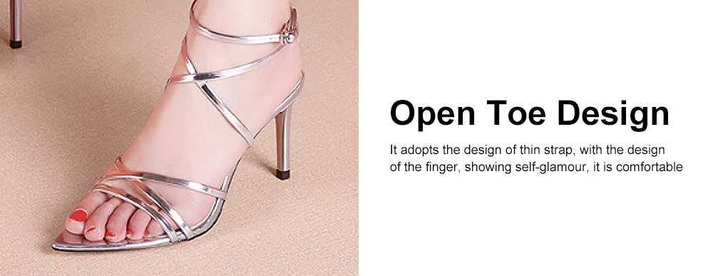 Open Toes High Heel Sandals with Ankle Strap, Front Cross Strap Footwear Thin Heel Dress Shoes for Fashion Ladies Summer 4