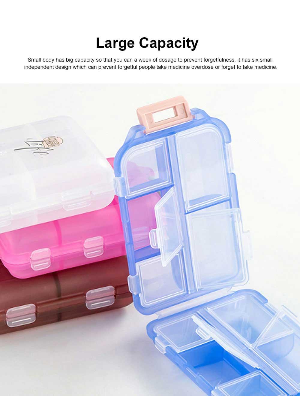 Moisture-proof Portable Weekly Pill Case, Multi-purpose Pill Organizer Pure Color Medicine Box with 10 Slots 3