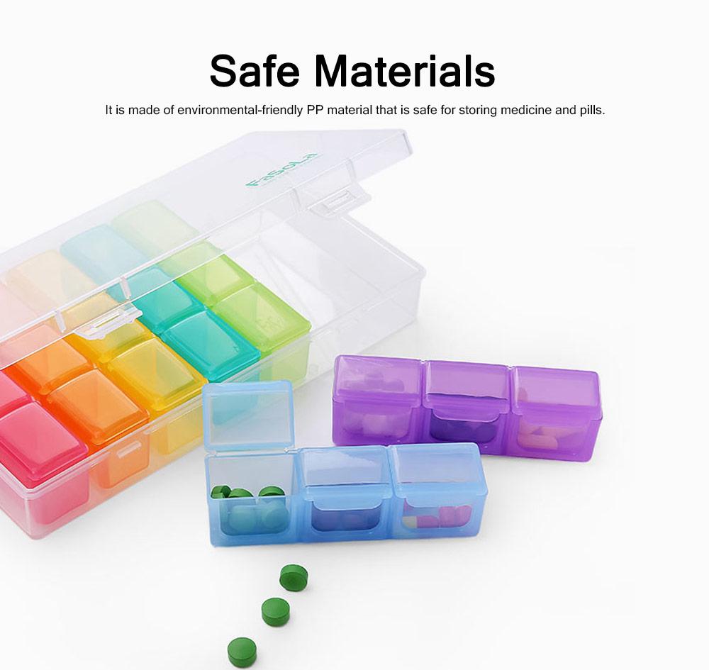 Mini Plastic Medicine Box for Pills & Tablets, Plastic Pill Container One-week Pill Organizer 2