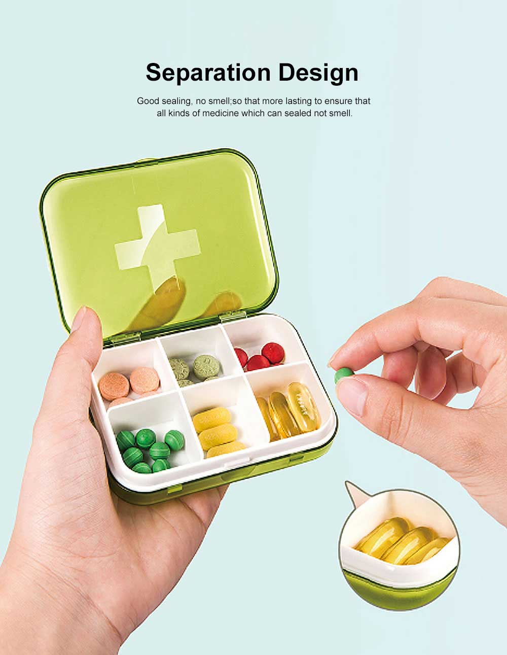Moisture-proof Waterproof Weekly Pill Case, Multi-purpose Pill Organizer Pure Color Medicine Box 3