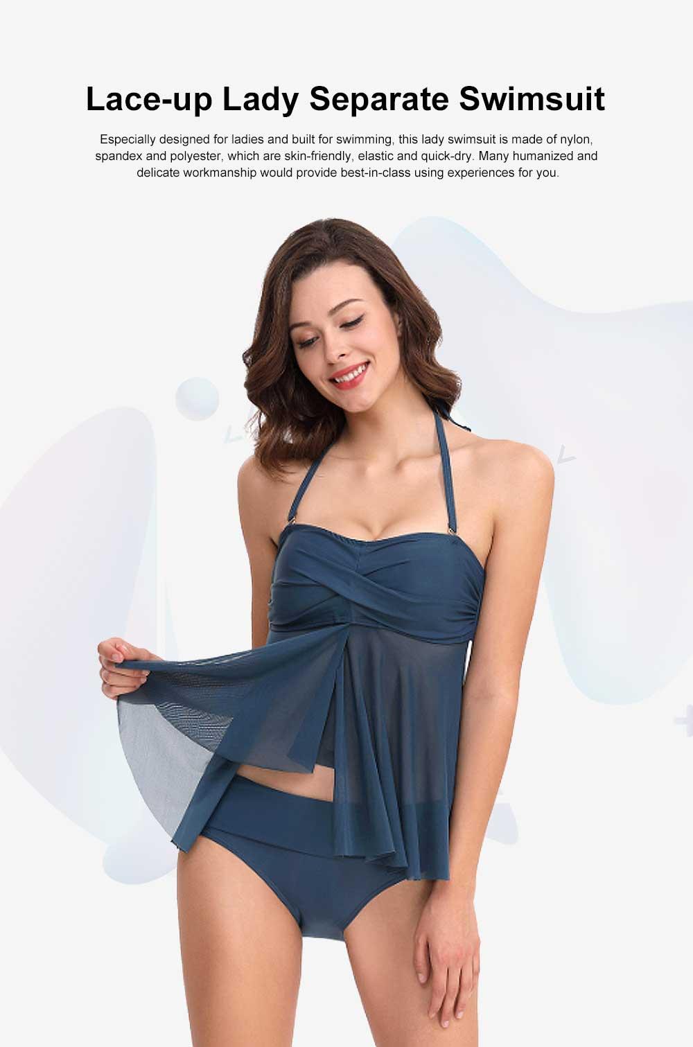 Minimalist Fancy Lace-up Ladies Separates Swimsuit, Elastic Skin-friendly Nylon Spandex Beachwear Bikini Swimwear 0