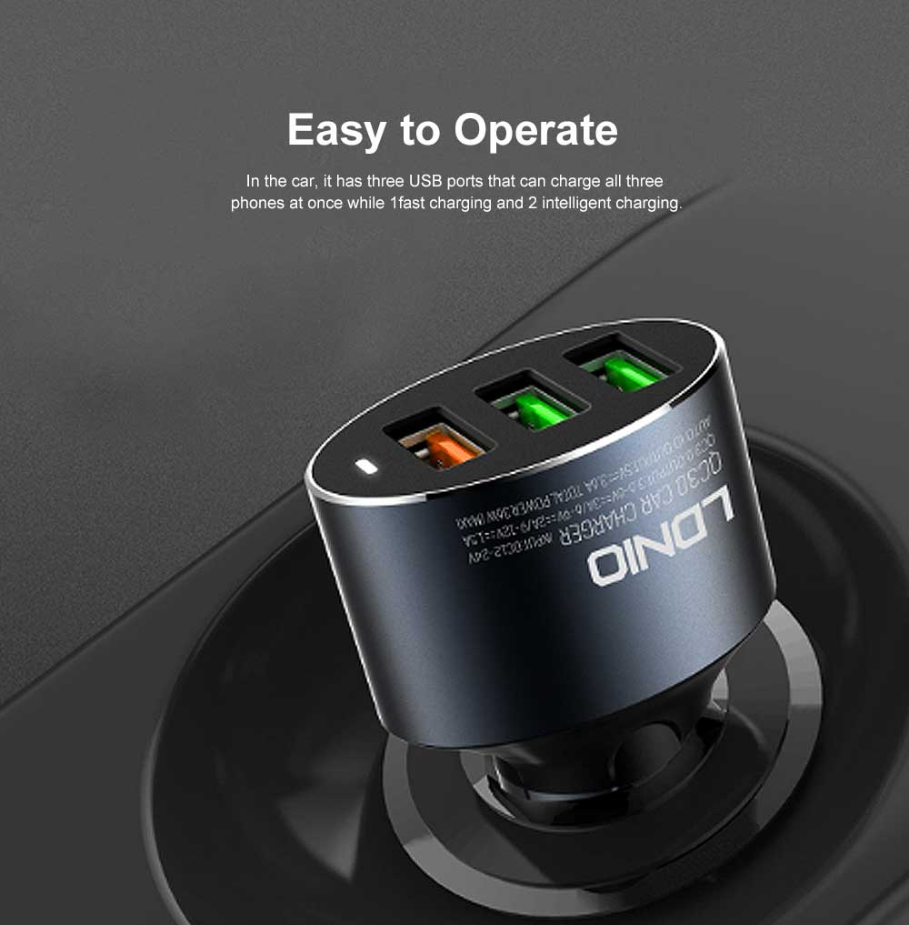 3 USB in 1 Tough Aluminum Alloy Car Charger with Multiple Protections Metal Ring Ergonomic Design QC 3.0 USB Data Cable Fast Car Charging Adapter 1