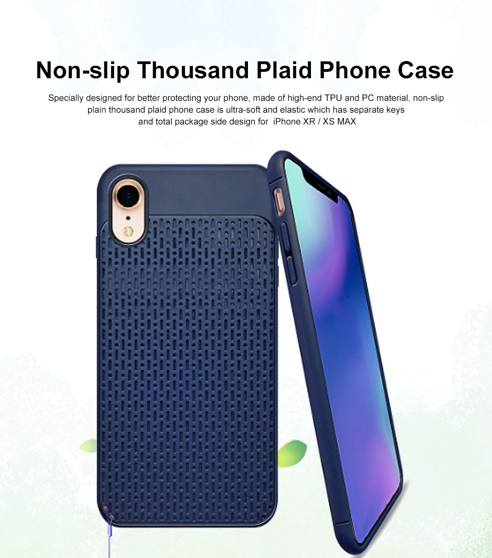 Non-slip Plaid Apple Phone Case with Total Package Side Design Separate Keys, Ultra-soft Silicone Phone Shell for iPhone XR or XS MAX 6.5 inch 0