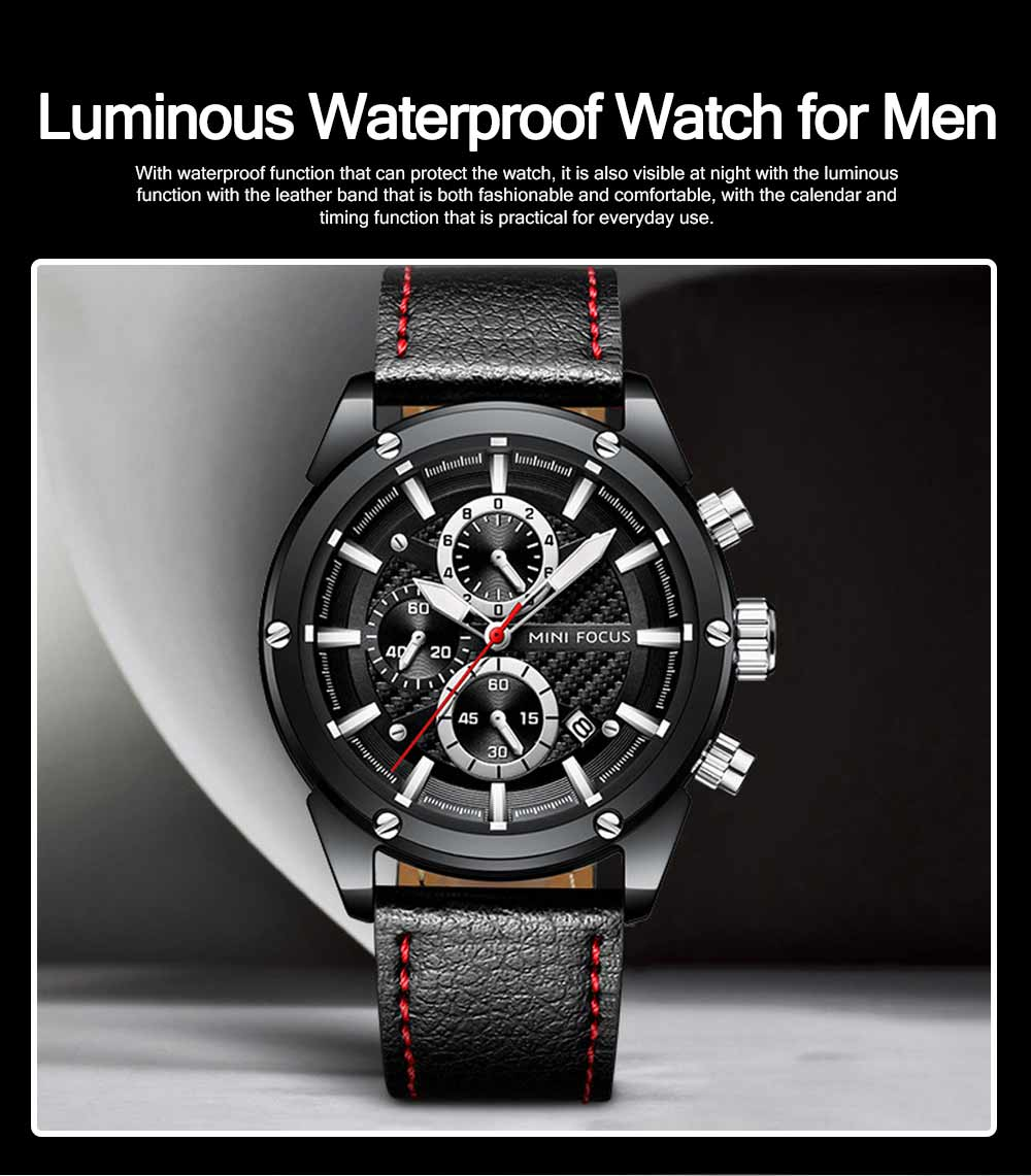Waterproof Luminous Watch with Calendar, Business Men's Watch with Leather Band 2019 Fashion Mechanical Watch 0
