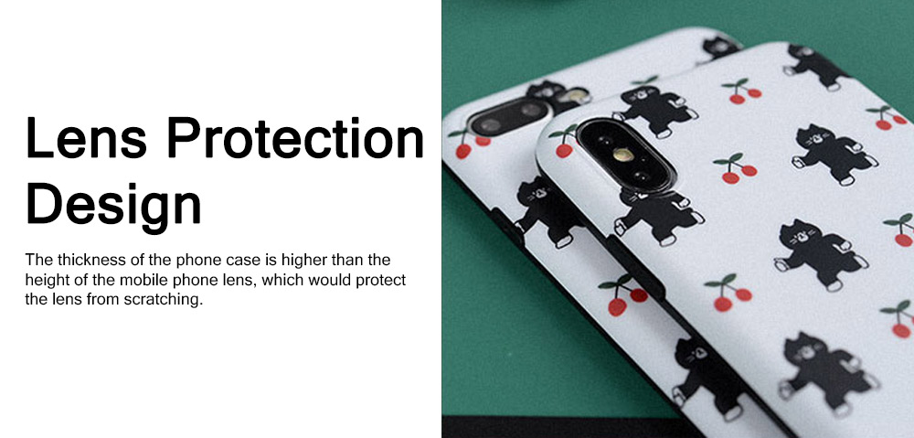 Black Cats Cherry Painting Phone Case, Soft Skin-friendly TPU Carton Phone Protective Cover for Apple iPhone XS Max 8 Plus 7 Plus 2