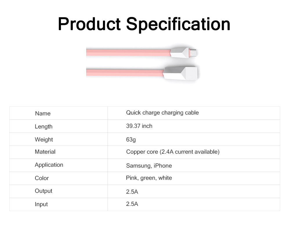 Delicate Copper Core 2.4A Quick Charge Data Charging Cable, Mobile Phone Charging Wire for iPhone Samsung Android 6