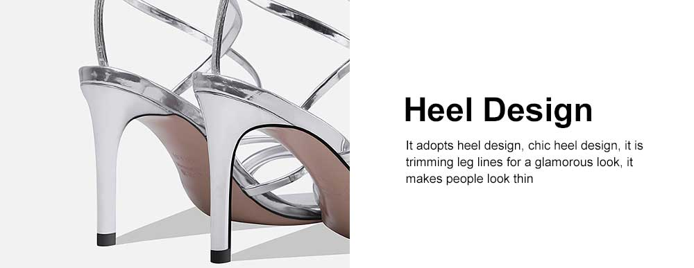 Open Toes High Heel Sandals with Ankle Strap, Front Cross Strap Footwear Thin Heel Dress Shoes for Fashion Ladies Summer 2