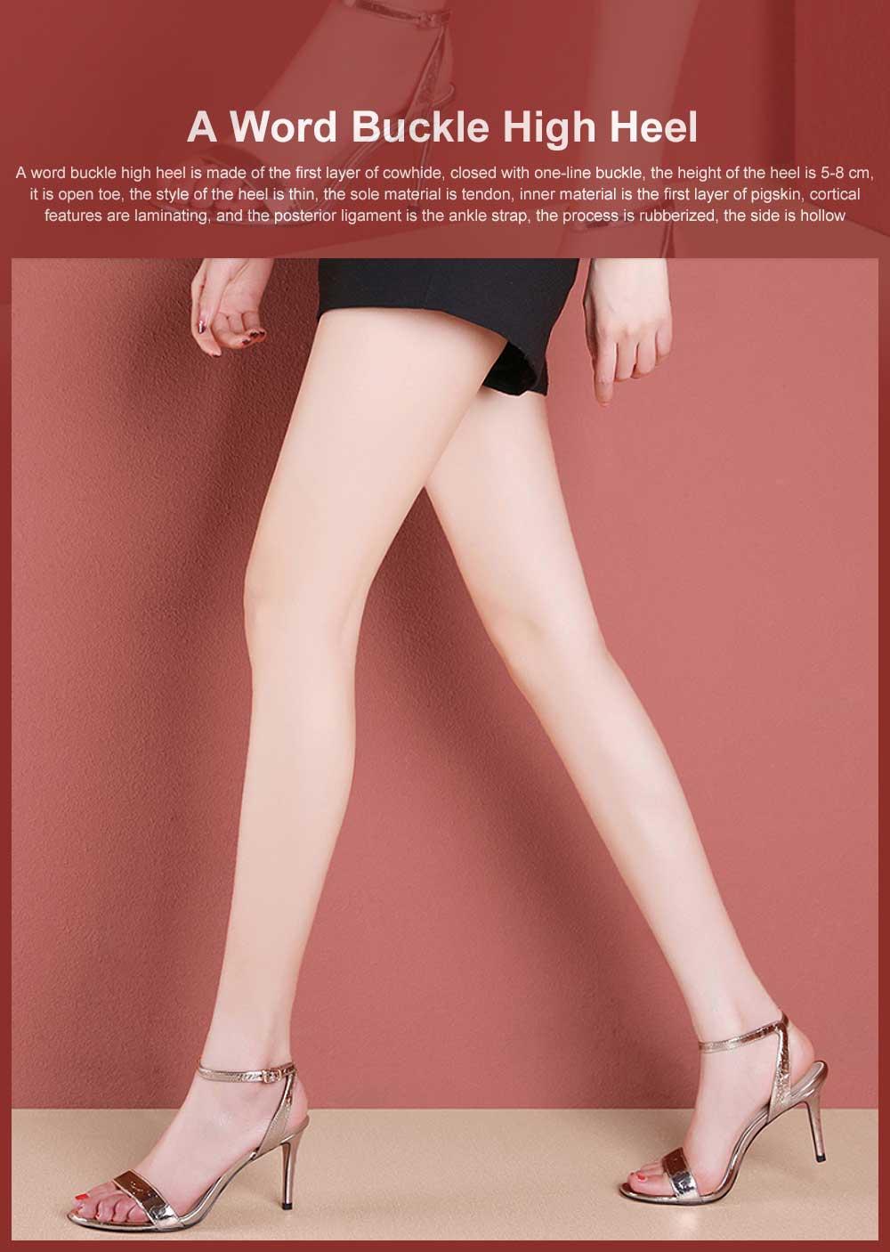 Summer High Heel Sandals with Word Buckle Roman Sandals, Women Dress Shoes Sexy High Heels 0