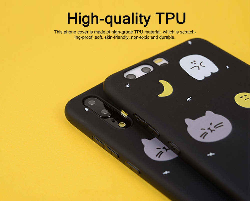 Cute Phone Case with Unique Starry Sky Cats Poodle Bichon Frise Patterns, Black Soft TPU Phone Cover for iPhone Huawei P20 Pro p10 PLUS 1