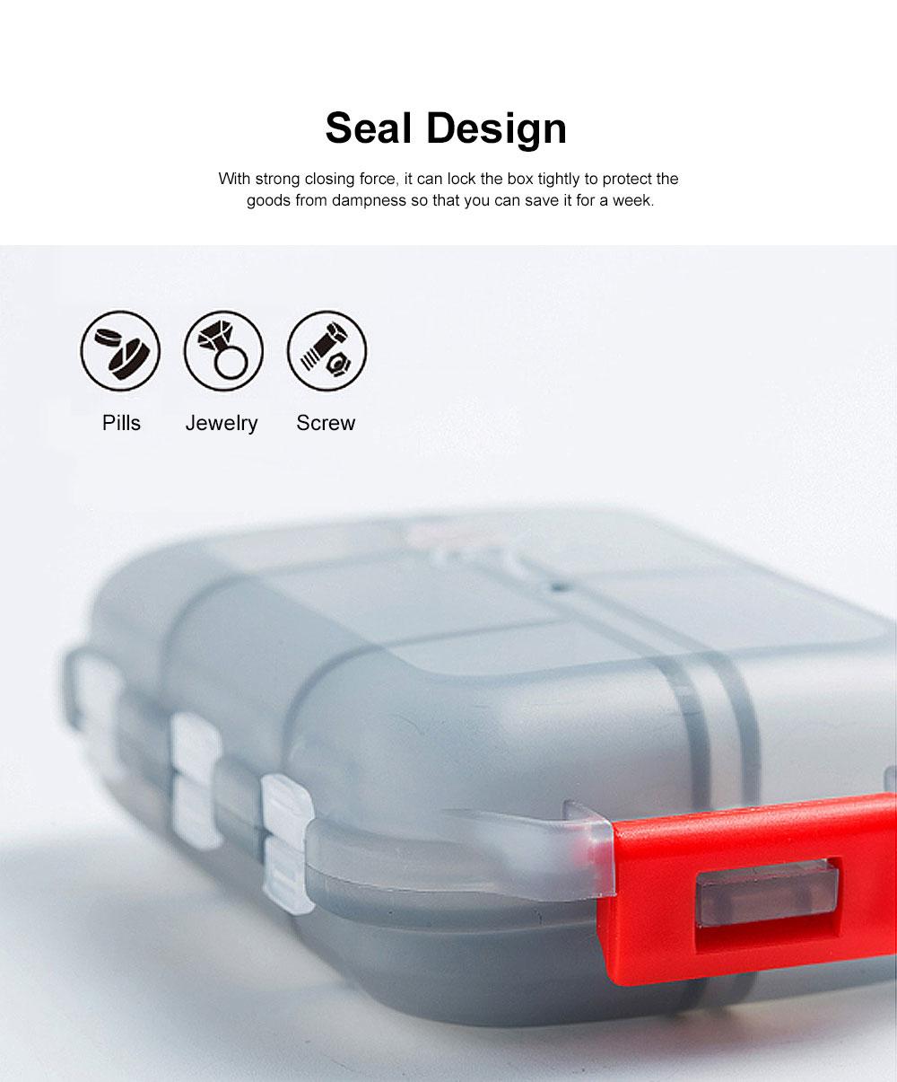 Moisture-proof Portable Weekly Pill Case, Multi-purpose Pill Organizer Pure Color Medicine Box with 10 Slots 1